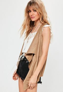 Tan Faux Suede Sleeveless Waterfall Jacket