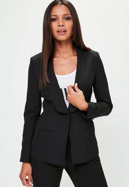 Black Tailored Button Blazer