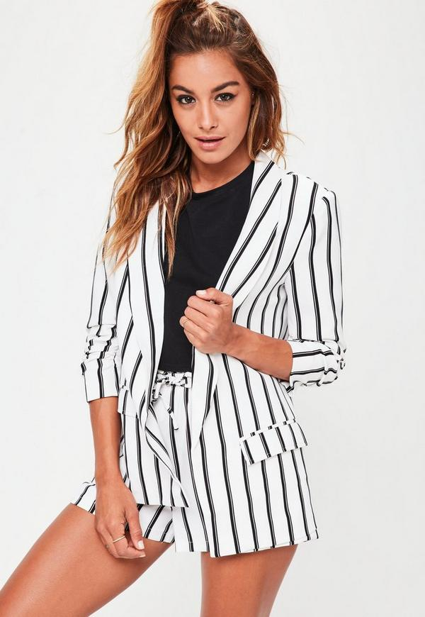 White Striped Gathered Sleeve Blazer