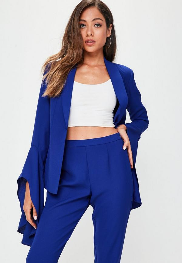 Blue Asymmetric Draped Frill Sleeve Blazer