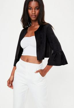 Premium Black Faux Suede Frill Sleeve Jacket