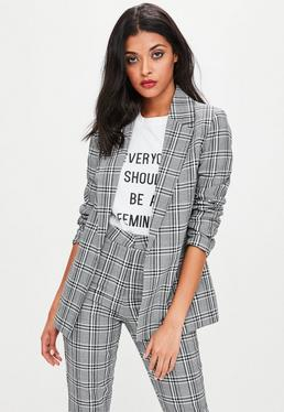 Grey Checked Longline Blazer