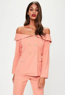 Nude Double Breasted Tailored Blazer