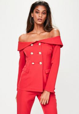 Red Bardot Double Breasted Tailored Blazer