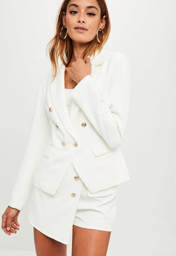 white tailored military blazer jacket missguided. Black Bedroom Furniture Sets. Home Design Ideas