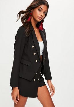 Black Tailored Military Blazer Jacket