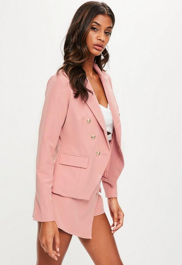 Baby Pink Tailored Military Blazer Jacket | Missguided
