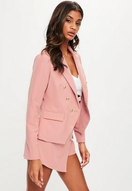 Baby Pink Tailored Military Blazer Jacket