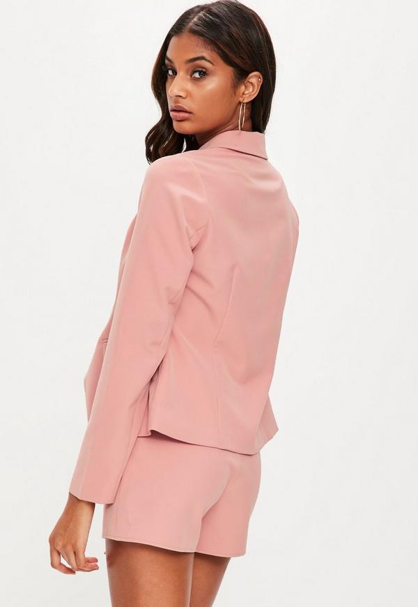 Baby Pink Tailored Military Blazer Jacket | Missguided Australia