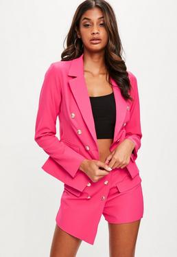 Pink Tailored Military Blazer Jacket