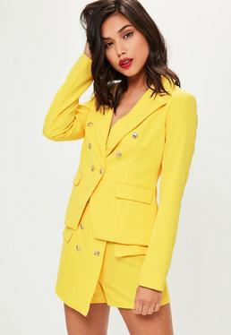Yellow Tailored Military Blazer Jacket