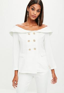 White Bardot Double Breasted Tailored Blazer