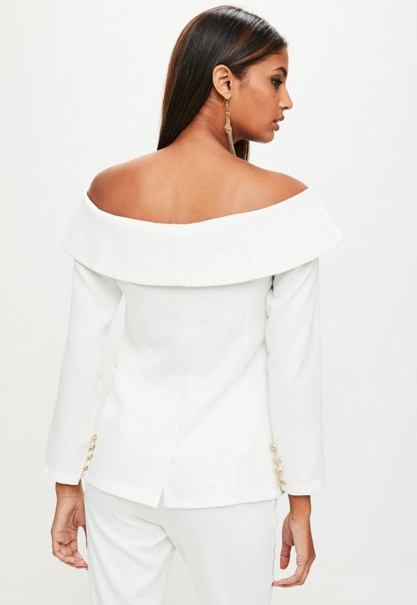 White Bardot Double Breasted Tailored Blazer | Missguided