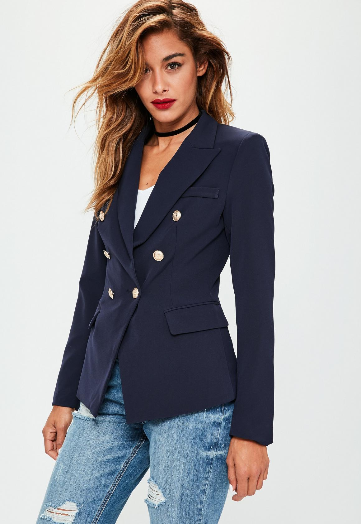 Navy Tailored Military Jacket | Missguided