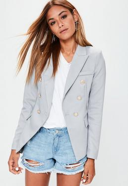 Grey Tailored Military Jacket