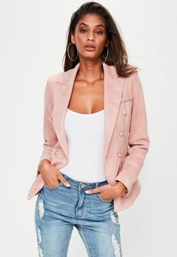 Premium Pink Faux Suede Military Jacket