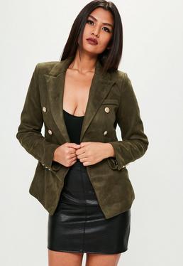 Premium Khaki Faux Suede Military Jacket
