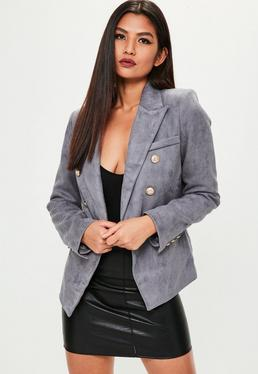 Premium Grey Faux Suede Military Jacket