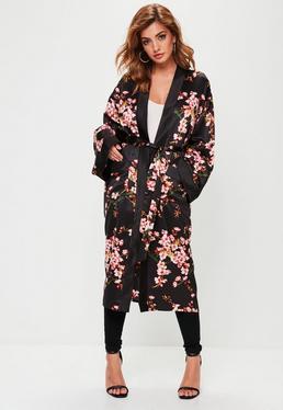 Black Floral Print Satin Duster Jacket