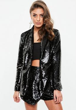 Black Sequin Tux Blazer