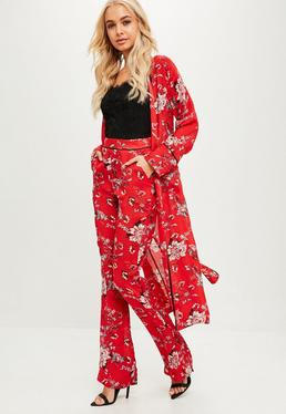 Red Satin Detail Duster Jacket
