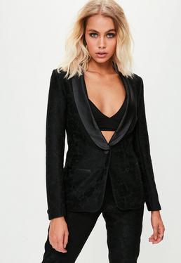 Premium Black Lace Tux Blazer