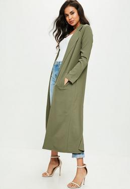 Khaki Long Sleeve Maxi Duster Jacket