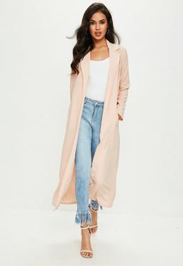 Nude Long Sleeve Maxi Duster Jacket