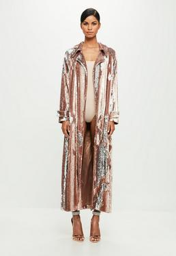 Peace + Love Pink Sequin Long Sleeve Trench Coat