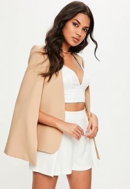 Nude Cropped Cape Blazer