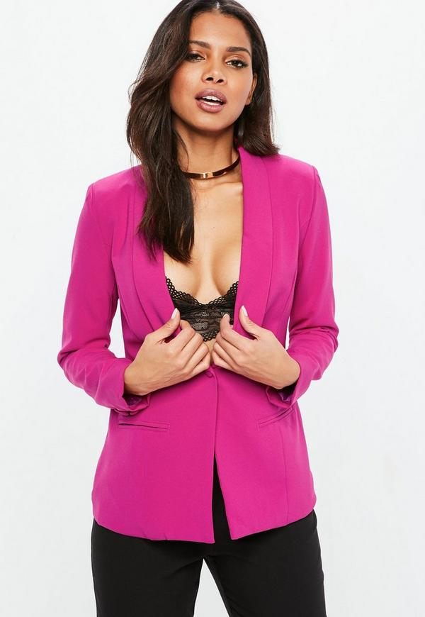 Purple Tailored Button Blazer by Missguided