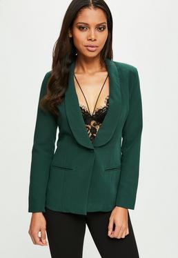 Green Tailored Button Blazer