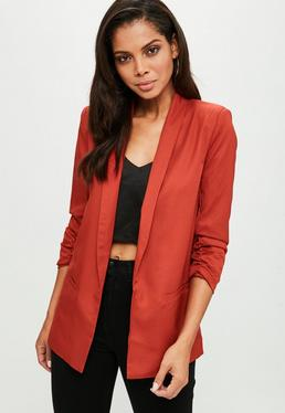 Orange Gathered Sleeve Blazer