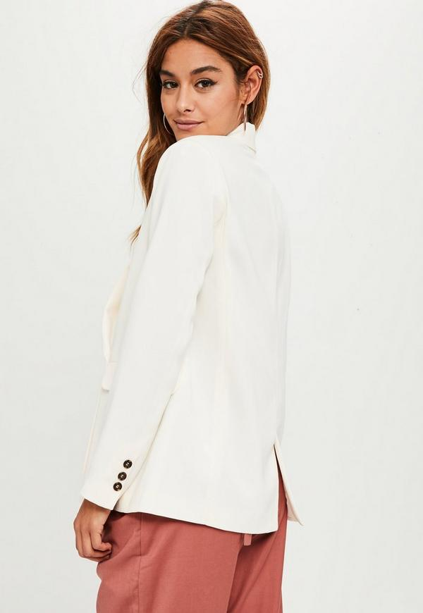 blazer blanc cr me long coupe crois e missguided. Black Bedroom Furniture Sets. Home Design Ideas