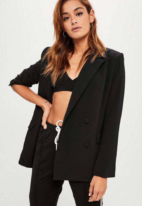 black oversized button blazer missguided. Black Bedroom Furniture Sets. Home Design Ideas