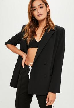 Black Oversized Button Blazer