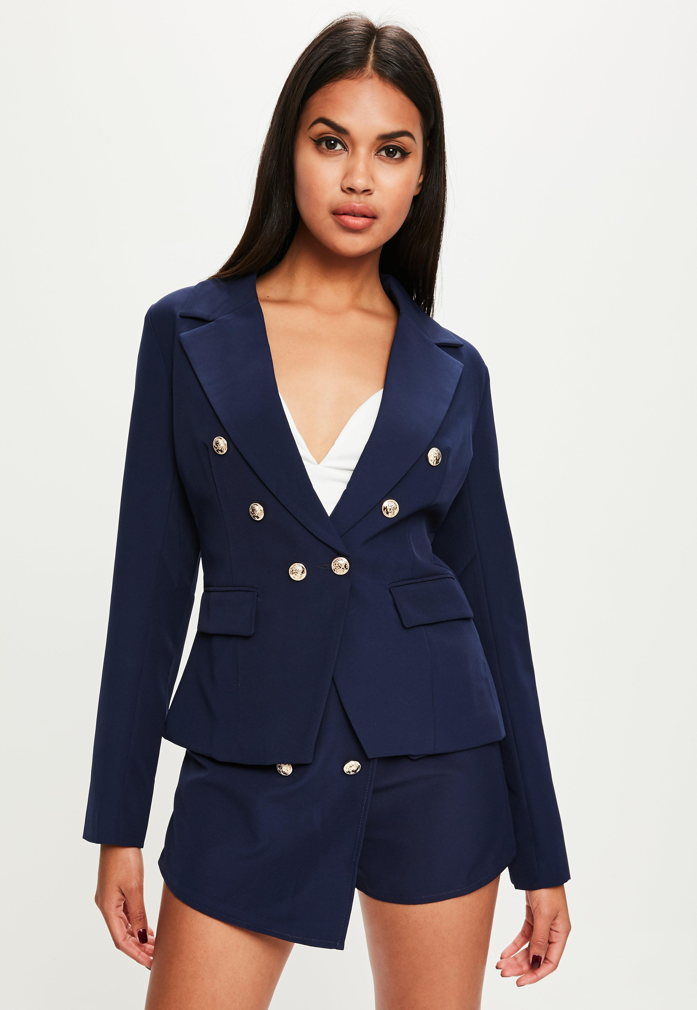 Veste femme marine ecusson