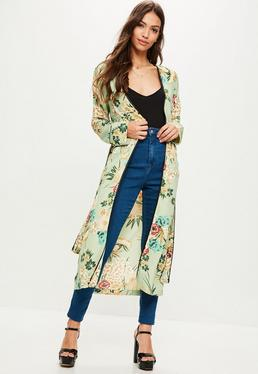 Green Floral Print Satin Duster Jacket