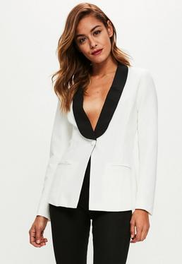 White Tailored Button Blazer