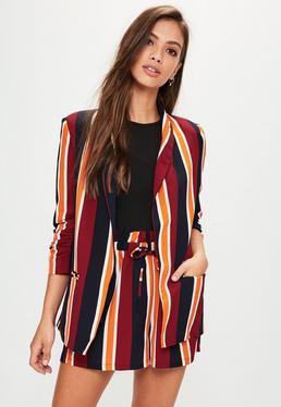 Burgundy Striped Gathered Sleeve Blazer