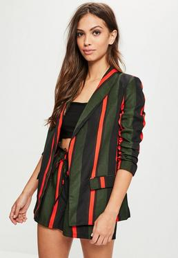 Green Striped Gathered Sleeve Blazer