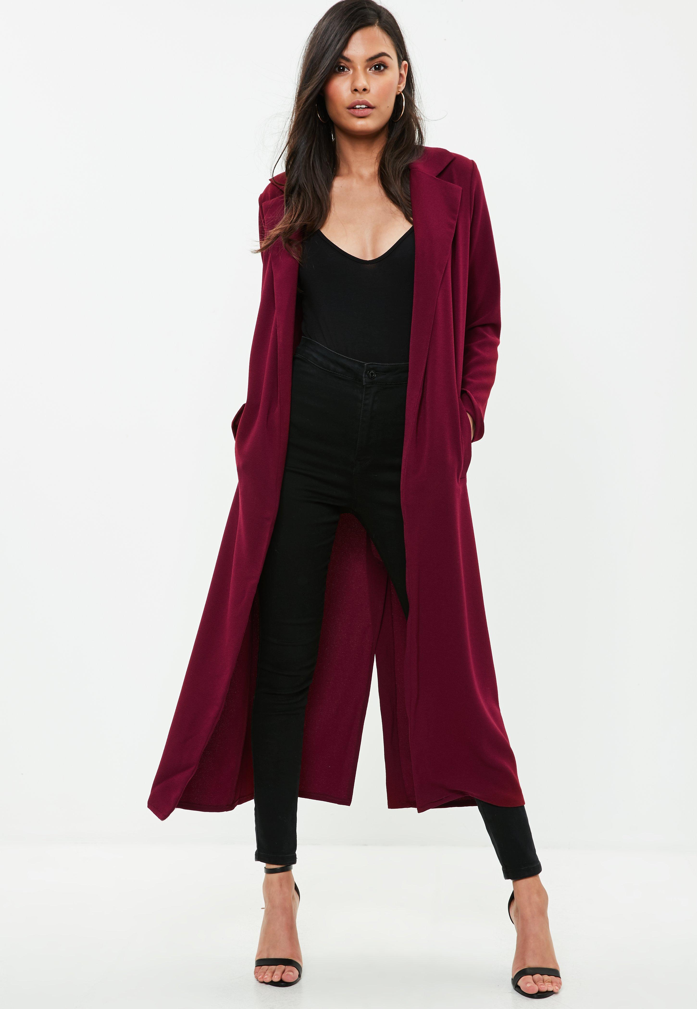 Burgundy Long Sleeved Maxi Duster Jacket | Missguided