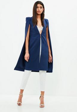 Blue Long Line Cape Jacket