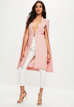 Pink Longline Cape Jacket