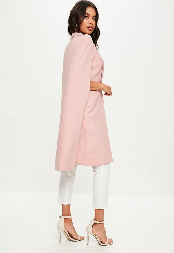 Pink Longline Cape Jacket   Missguided