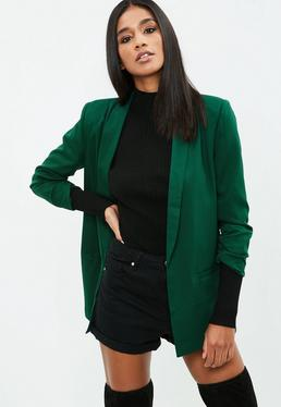 Green Gathered Sleeve Blazer