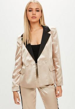 Gold Satin Tailored Blazer