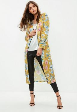 Yellow Floral Satin Detail Duster Jacket