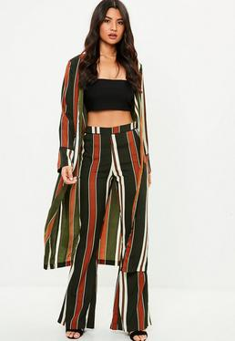 Green Stripe Duster Jacket