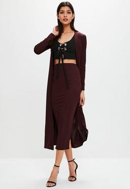 Burgundy Long Sleeved Duster Jacket